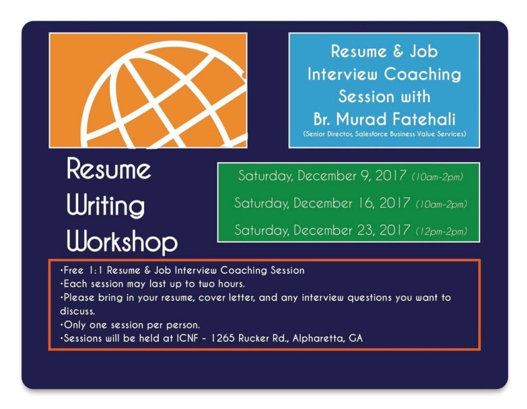 resume writing workshop islamic center of north fulton icnf